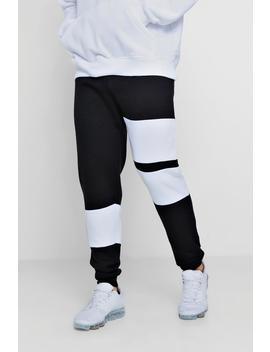Colour Block Panelled Skinny Fleece Jogger by Boohoo