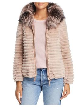 Hooded Beaver Fur Jacket With Fox & Mink Fur Trim   100 Percents Exclusive by Maximilian Furs