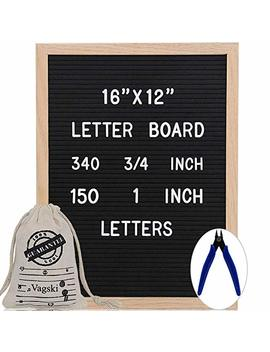 Letter Board 12 X 16 Inches   Vagski Black Felt Letter Board With 490 Letters Numbers & Symbols (150 1'' + 340 ¾''), Changeable Message Board Sign With Oak Wood Frame, Letter Pouch & Scissors Vag047 by Vagski