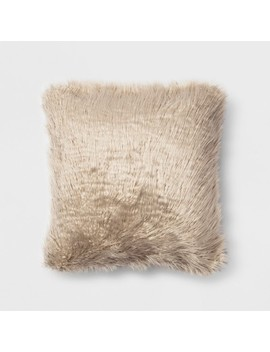 Mongolian Faux Fur Square Throw Pillow Neutral   Project 62™ by Shop This Collection