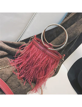 Feather Women Bag 2018 New Handbag High Quality Pu Leather Tassel Bucket Bag Metal Ring Portable Tote Bag Chain Shoulder Bags by Remiel