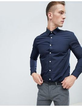 New Look Poplin Shirt In Regular Fit In Navy by New Look