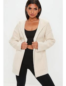 Cream Reversible Zip Through Borg Teddy Jacket by Missguided