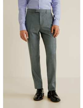 Regular Fit Check Suit Trousers by Mango