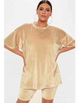 Plus Size Camel Velvet Oversized T Shirt by Missguided