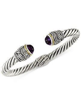Effy Amethyst (4 9/10 Ct. T.W.) Hinge Bangle Bracelet In 18k Gold And Sterling Silver by Effy Collection
