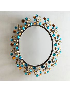 "Peacock Dazzle 24"" Round Mirror by Pier1 Imports"