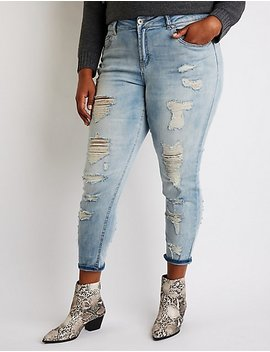 Plus Size Dollhouse Destroyed Skinny Jeans by Charlotte Russe
