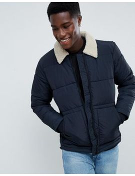 New Look Puffer Jacket With Borg Collar In Navy by New Look