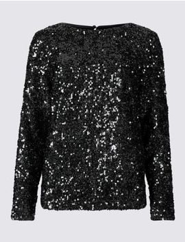 Sparkly Round Neck Long Sleeve Top by Marks & Spencer