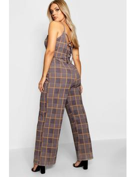 Plus Check Print Jumpsuit by Boohoo