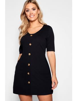 Plus Horn Button Detail Pocket Front Shift Dress by Boohoo