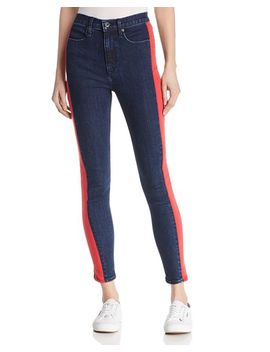 Mazie Side Stripe Skinny Jeans In Igloo/Red by Rag & Bone/Jean