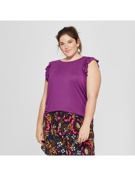 Women's Plus Size Ruffle Knit Sleeveless Tank   A New Day™ Purple by A New Day™