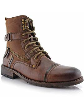 Polar Fox Asher Mpx808585 Mens Cap Toe Ankle Lace Up Dress Combat Motorcycle Boots by Polar Fox