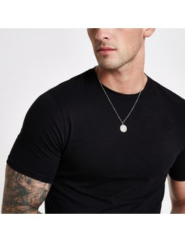 Black Muscle Fit Crew Neck T Shirt by River Island