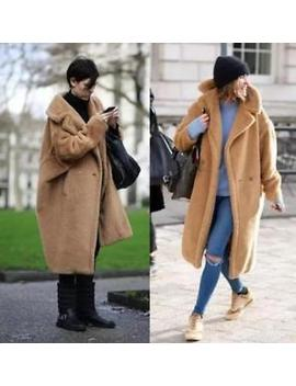 Luxury Ladies Fur Thick Warm Coat Oversize Winter Wool Long Coat Pocket Casual by Unbranded