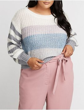 Plus Size Striped Pullover Sweater by Charlotte Russe