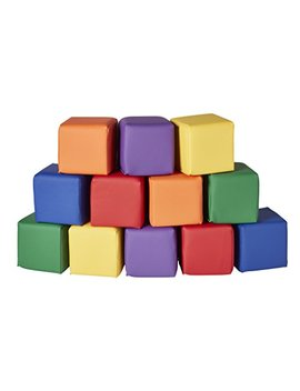 Ecr4 Kids Soft Zone Patchwork Toddler Block Playset   Gentle Foam Blocks For Safe Active Play And Building, Primary Colors (12 Piece Set) by Ecr4 Kids