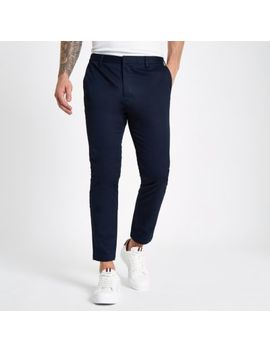 Navy Skinny Cropped Trousers by River Island