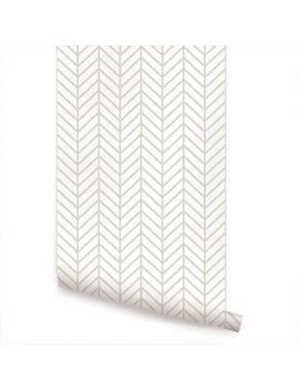 Herringbone Line Beige Peel & Stick Fabric Wallpaper Repositionable by Etsy