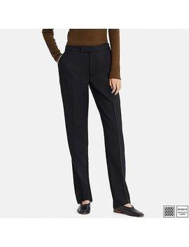 Women U Wool Blend Straight Pants by Uniqlo