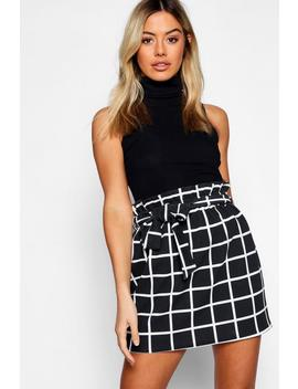 Petite Grid Check Tie Belted Skirt by Boohoo