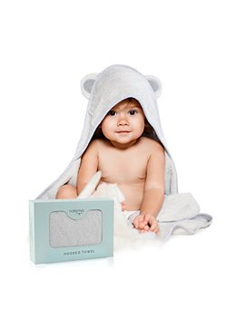 Natemia Rayon From Bamboo Hooded Baby Bath Towel   Highly Absorbent, Plush, Soft, Bacterial & Odor Resistant Towel   For Boys, Girls, Newborns & Infants ... by Natemia