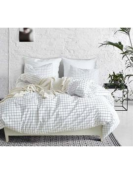 Hyprest Checkered Duvet Cover Set Queen Lightweight Soft White Black 3 Pc Comforter Cover Set Hotel Quality With Grid Design (Queen) by Hyprest