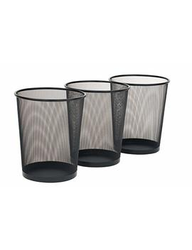 """Seville Classics 3 Pack Round Mesh Wastebasket Recycling Bin, 6 Gal, 12"""" Diameter Top X 14"""" H, Black by Seville Classics"""