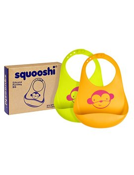 Squooshi Waterproof Silicone Bib Set Of 2 Colors | Easily Wipes Clean | Comfortable Soft Baby Bibs Keep Stains Off | Spend Less Time Cleaning After Meals With... by Squooshi