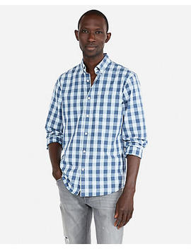 Slim Check Soft Wash Long Sleeve Shirt by Express