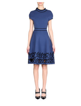 Reversible Cap Sleeve Fit And Flare Knit Dress With Scroll Heart Hem by Fendi