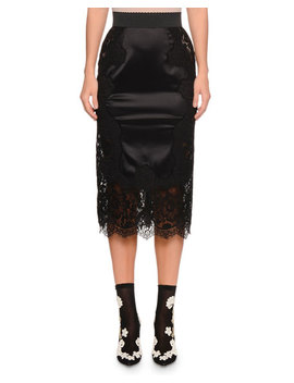 High Waist Pencil Stretch Satin Midi Skirt W/ Lace Insets by Dolce & Gabbana