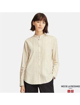 Women Cotton Twill Pintuck Long Sleeve Shirt (Ines De La Fressange) by Uniqlo