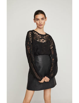 Floral Embroidered Puff Sleeve Top by Bcbgmaxazria