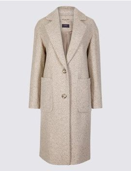 Wool Blend Herringbone Coat by Marks & Spencer