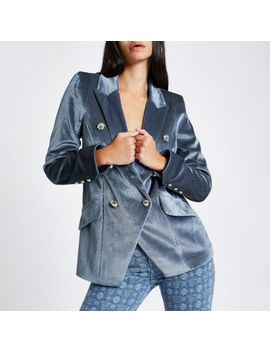 Blue Cord Double Breasted Tux Jacket by River Island