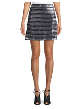 Striped Embellished Silk A Line Mini Skirt by Derek Lam 10 Crosby