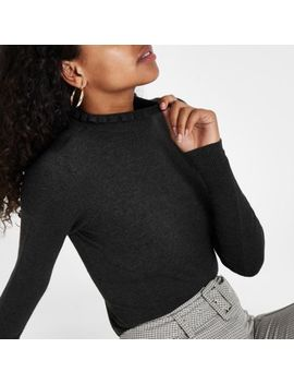 Dark Grey Frill Neck Long Sleeve Turtleneck by River Island