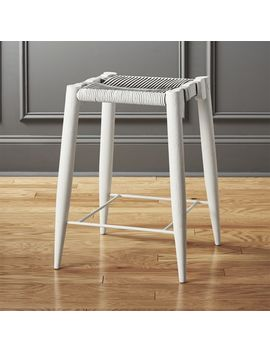 "Nahla White Leather Counter Stool 24"" by Crate&Barrel"