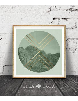 Geometric Mountains Print, Sage Green Decor, Faux Rose Gold Copper Foil, Mountain Photo, Moody Photography, Scandinavian Wall Art, Square by Etsy