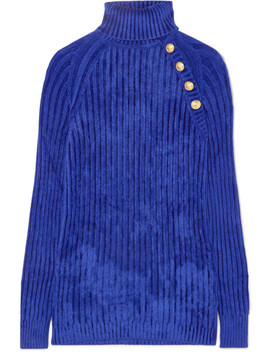 Button Embellished Ribbed Chenille Turtleneck Sweater by Balmain