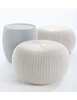 Keter 234242 Urban Knit Pouf Set, Cloudy Grey/Oasis White by Keter