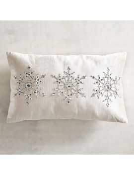 Beaded Snowflakes Ivory Lumbar Pillow by Pier1 Imports