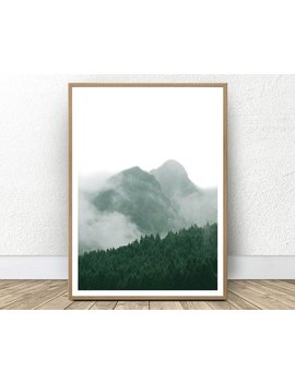 Mountain Printable, Foggy Mountain, Forest Prints, Green Decor, Green Landscape, Abstract Mountains, Minimalist Mountain, Nordic Printable by Etsy