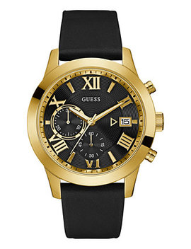Men's Black Leather Strap Watch 45mm U0669 G4 by Guess
