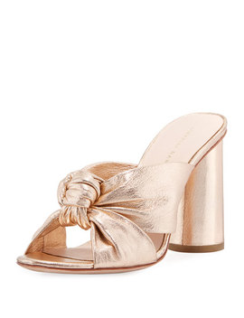 Coco Metallic Leather Knot Slide Sandal by Loeffler Randall