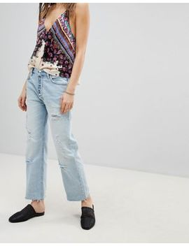 Free People   Rolling On The River   Jean Court Coupe Droite Effet Vieilli by Free People