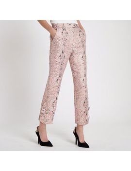 Pink Faux Pearl Cigarette Trousers by River Island